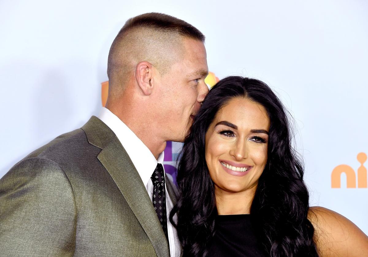 John Cena and Nikki Bella at Nickelodeon's 2017 Kids' Choice Awards at USC Galen Center on March 11, 2017 in Los Angeles, California