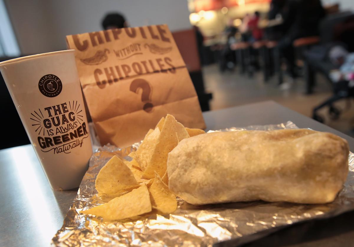 Food is served at a Chipotle restaurant on October 25, 2017 in Chicago, Illinois