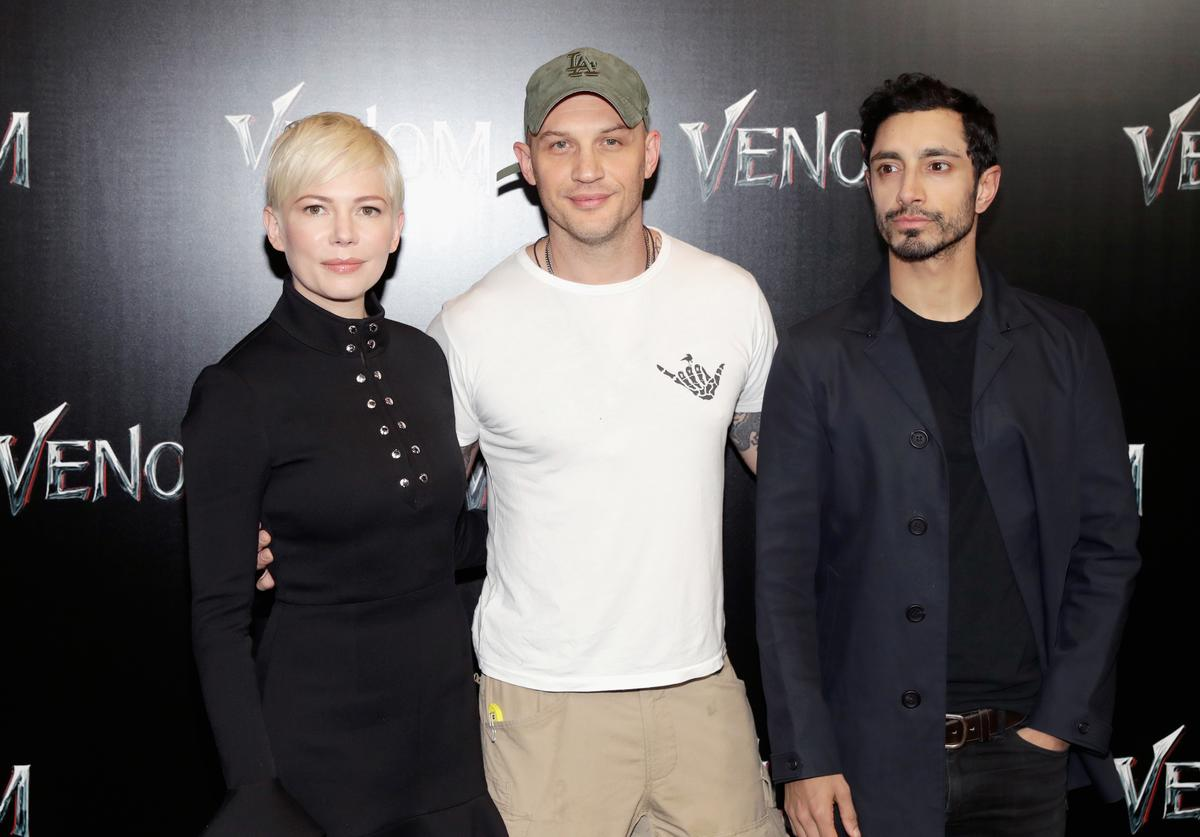 Actors Michelle Williams, Tom Hardy and Riz Ahmed attend the CinemaCon 2018 Gala Opening Night Event: Sony Pictures Highlights its 2018 Summer and Beyond Films at The Colosseum at Caesars Palace during CinemaCon, the official convention of the National Association of Theatre Owners, on April 23, 2018 in Las Vegas, Nevada