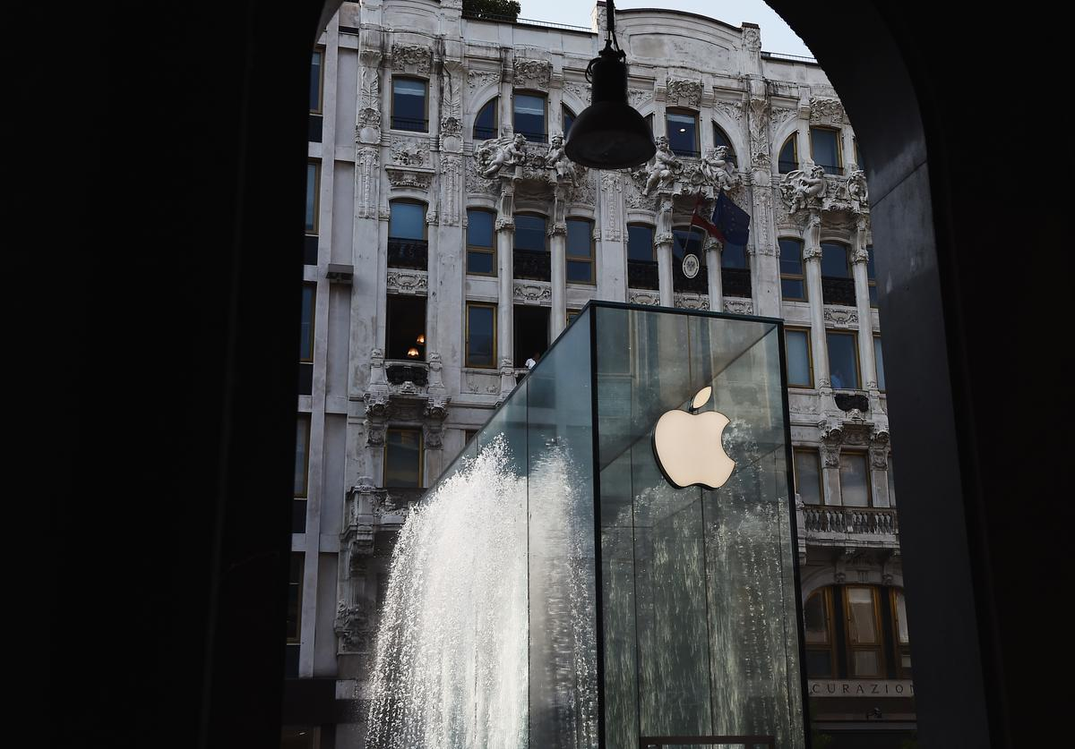 A general view during the Apple store opening in Milan at Piazza Liberty on July 26, 2018 in Milan, Italy.