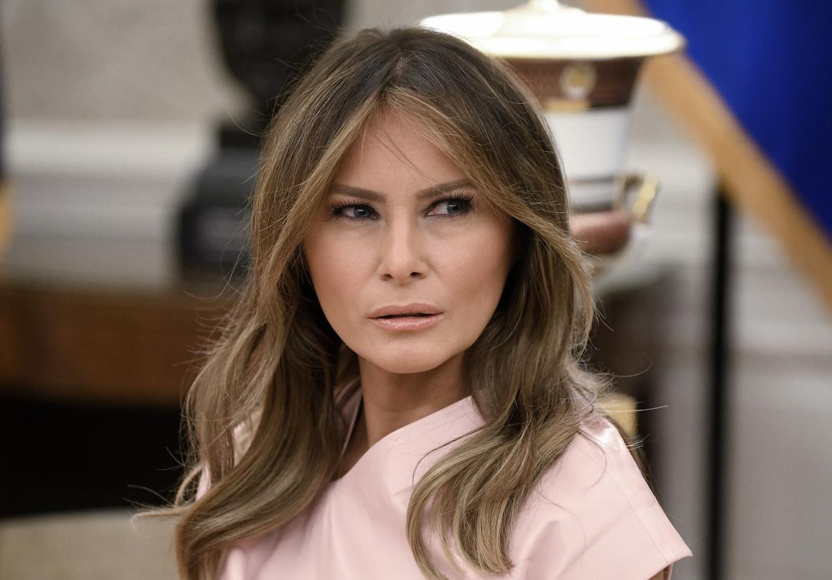 Melania Trump attends a meeting with King Abdullah II and Queen Rania of Jordan in the Oval Office of the White House on June 25, 2018 in Washington, DC