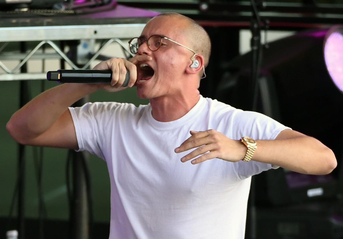 Logic performs to celebrate the NHL Stanley Cup playoffs opening night ahead of Game One of the Western Conference First Round between the Los Angeles Kings and the Vegas Golden Knights at T-Mobile Arena on April 11, 2018 in Las Vegas, Nevada