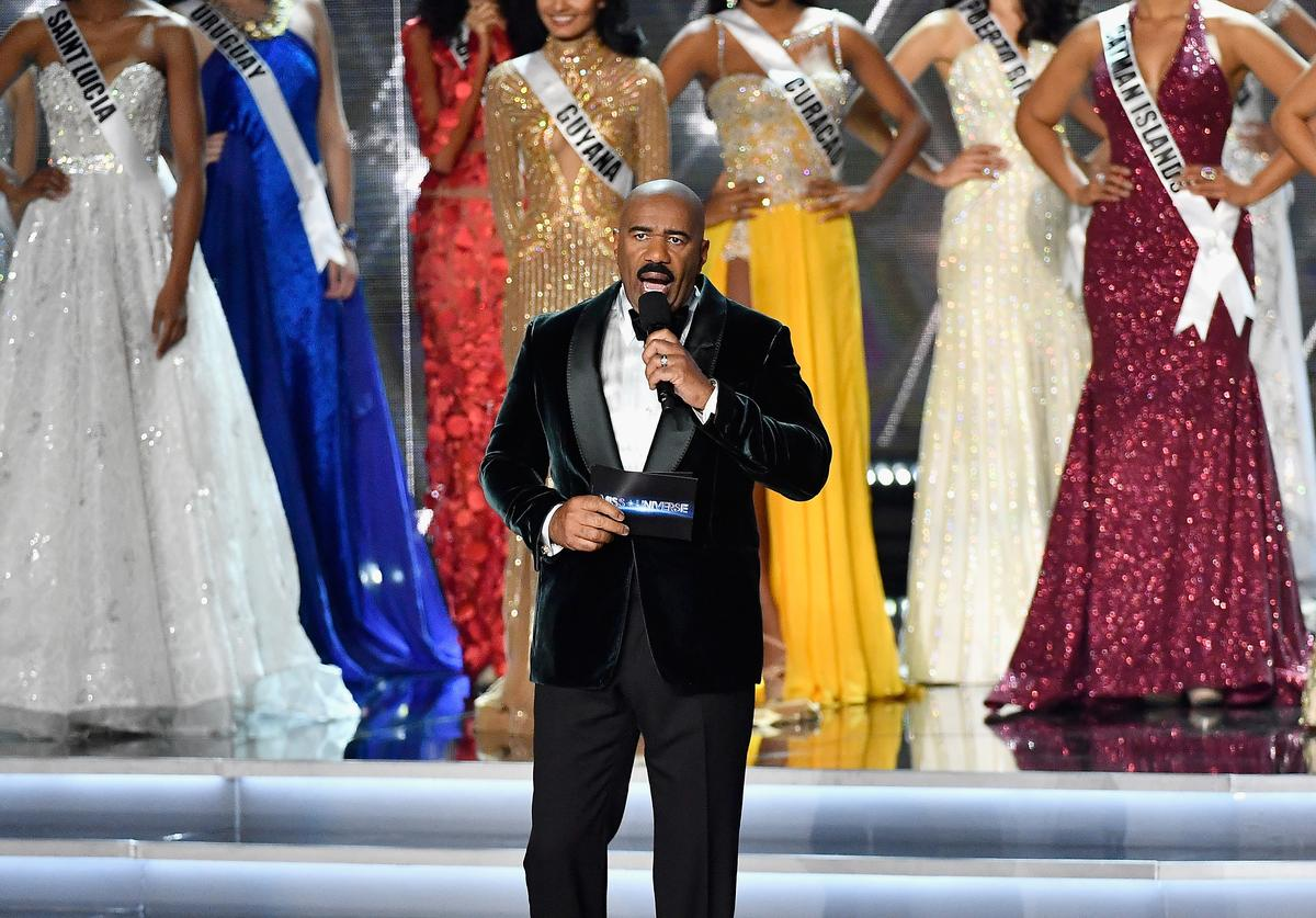 Television personality and host Steve Harvey speaks during the 2017 Miss Universe Pageant at The Axis at Planet Hollywood Resort & Casino on November 26, 2017 in Las Vegas, Nevada.