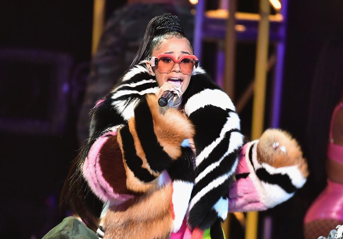 Cardi B performs onstage during the BET Hip Hop Awards 2017 at The Fillmore Miami Beach at the Jackie Gleason Theater on October 6, 2017 in Miami Beach, Florida