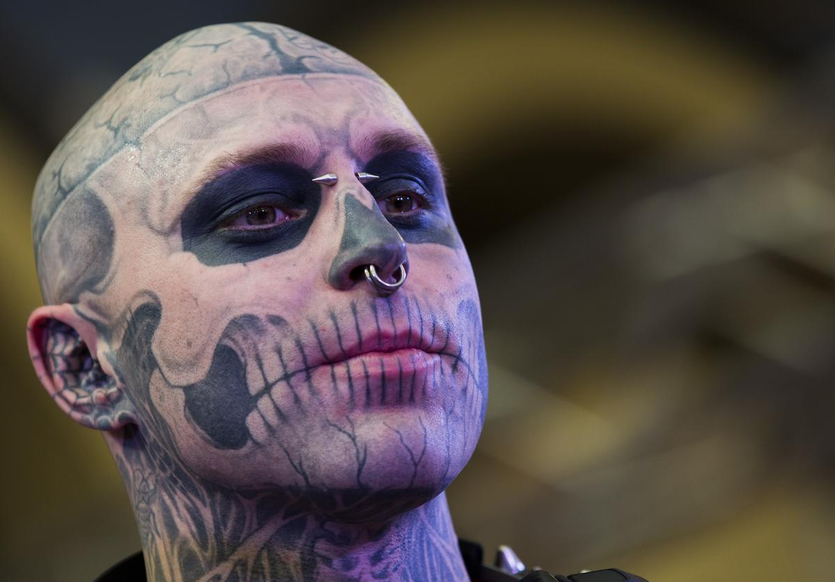 Zombie Boy attends The Great British Tattoo Show at Alexandra Palace on May 24, 2014 in London, England