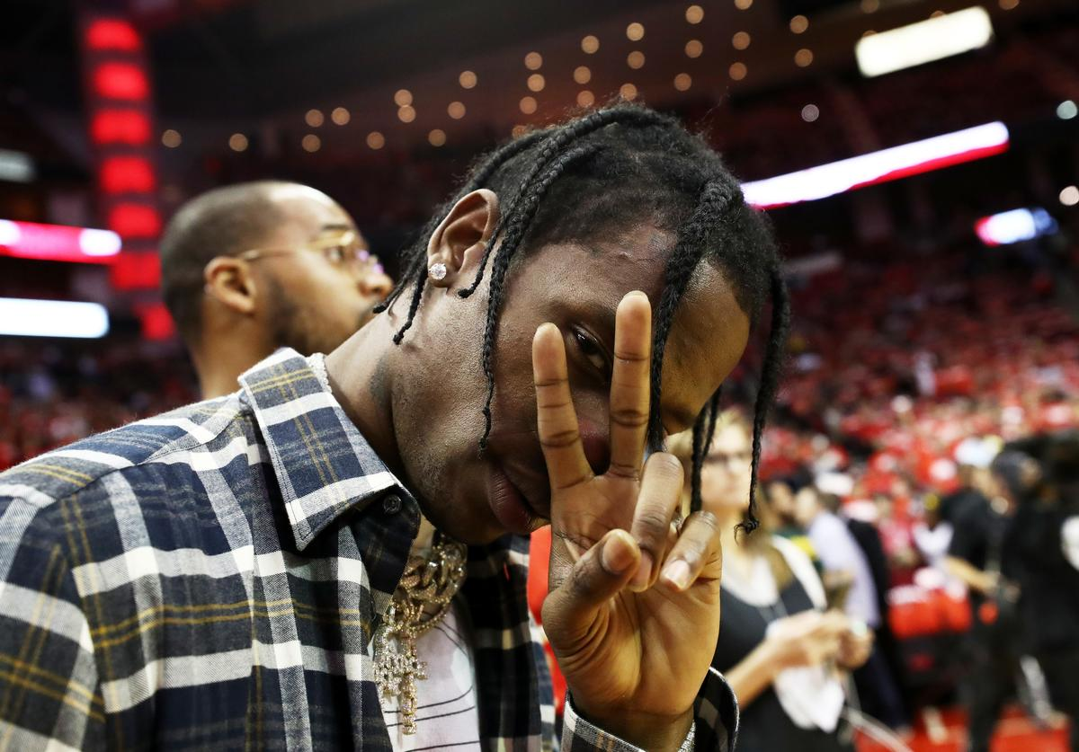 Travis Scott poses prior to Game Five of the Western Conference Finals of the 2018 NBA Playoffs between the Houston Rockets and the Golden State Warriors at Toyota Center on May 24, 2018 in Houston, Texas