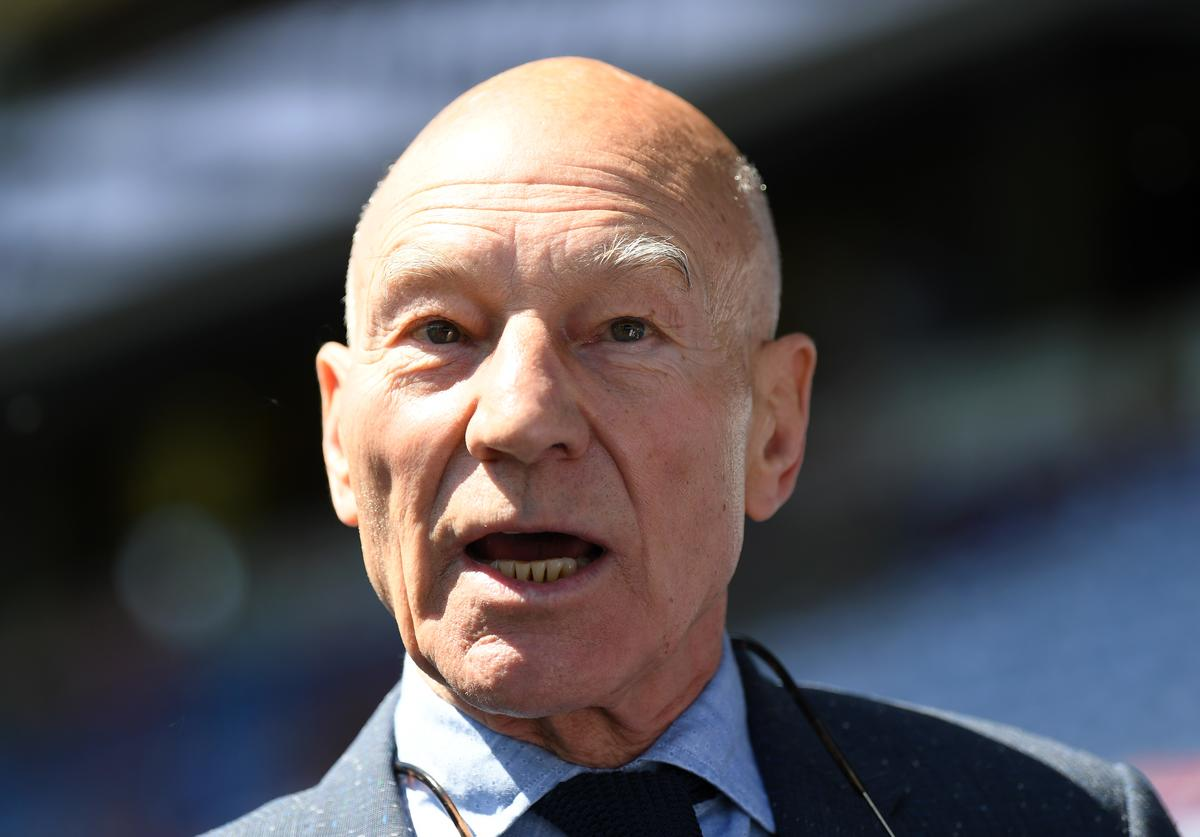 Actor Patrick Stewart attends the Premier League match between Huddersfield Town and Arsenal at John Smith's Stadium on May 13, 2018 in Huddersfield, England.