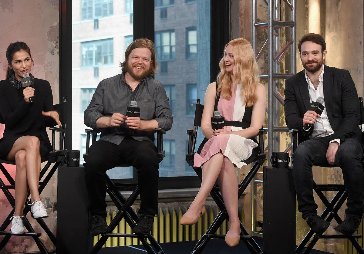 Elodie Yung,Elden Henson, Deborah Ann Wool and Charlie Cox of Netflix Original Series 'Marvel's Daredevil' attend the AOL Build Speakers Series at AOL Studios In New York on March 11, 2016 in New York City.