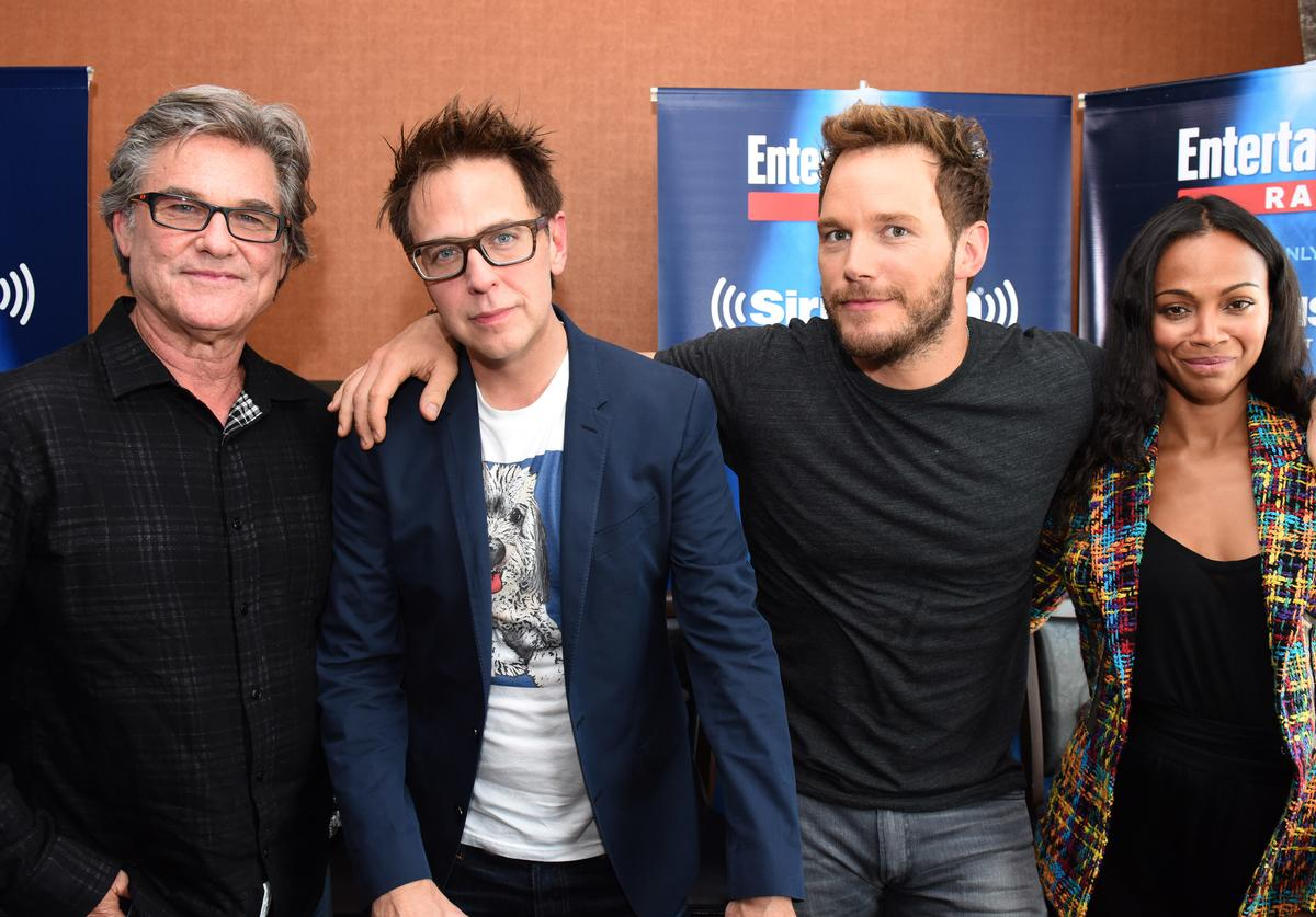 Actor Kurt Russell, director James Gunn and actors Chris Pratt and Zoe Saldana attend SiriusXM's Entertainment Weekly Radio Channel Broadcasts From Comic-Con 2016 at Hard Rock Hotel San Diego on July 22, 2016 in San Diego, California.