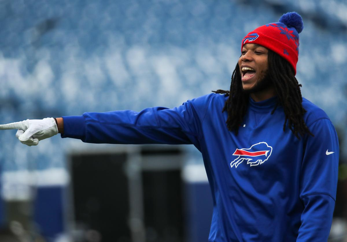 Kelvin Benjamin #13 of the Buffalo Bills laughs before a game against the Miami Dolphins on December 17, 2017 at New Era Field in Orchard Park, New York.