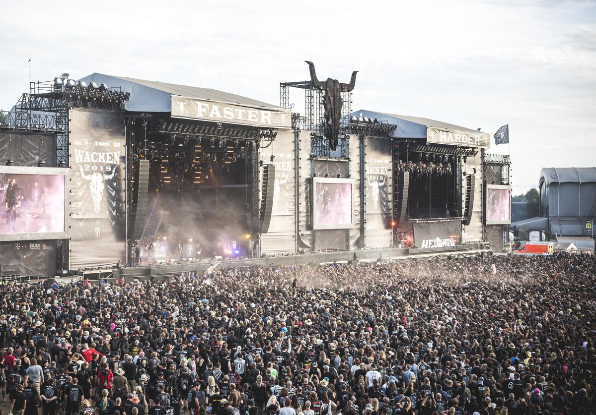 General view of the Wacken Open Air festival on August 4, 2018 in Wacken, Germany. Wacken is a village in northern Germany with a population of 1,800 that has hosted the annual festival, which attracts heavy metal fans from around the world, since 1990.