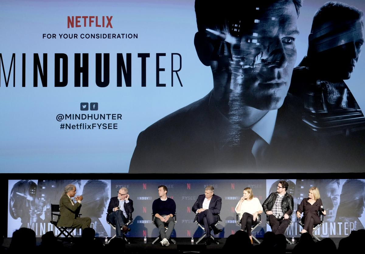 Elvis Mitchell, David Fincher, Jonathan Groff, Holt McCullany, Anna Torv, Cameron Britton, Laray Mayfield at Netflix's 'Mindhunter' FYC Event,Netflix FYSEE At Raleigh Studios on June 1, 2018 in Los Angeles, California.