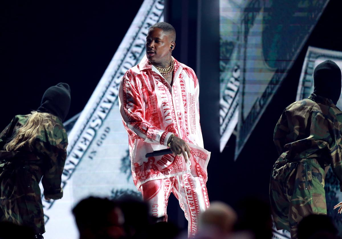YG performs onstage at the 2018 BET Awards at Microsoft Theater on June 24, 2018 in Los Angeles, California