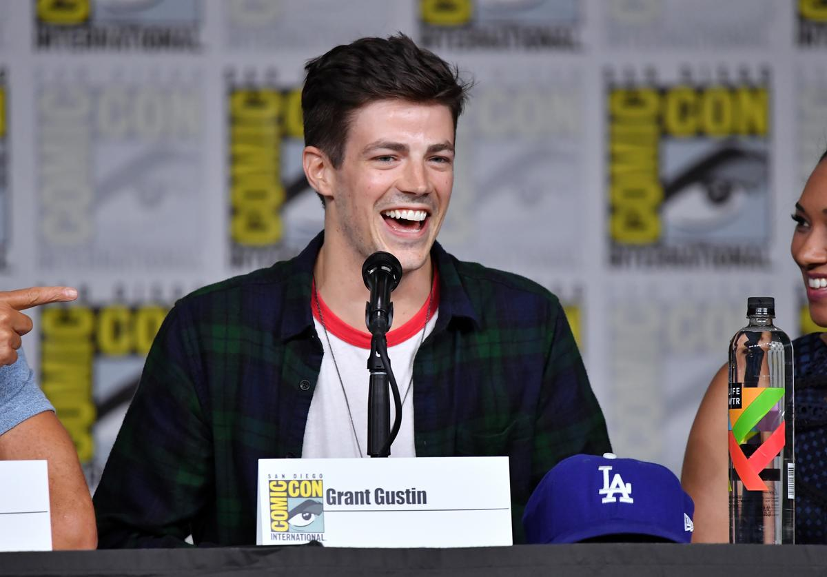 Grant Gustin speaks onstage at the'The Flash' Special Video Presentation and Q&A during Comic-Con International 2018 at San Diego Convention Center on July 21, 2018 in San Diego, California.