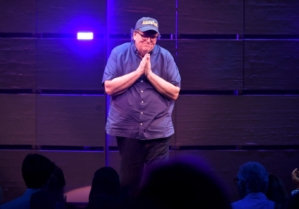 Michael Moore speaks onstage during 'The Terms Of My Surrender' Broadway Opening Night at Belasco Theatre on August 10, 2017 in New York City.
