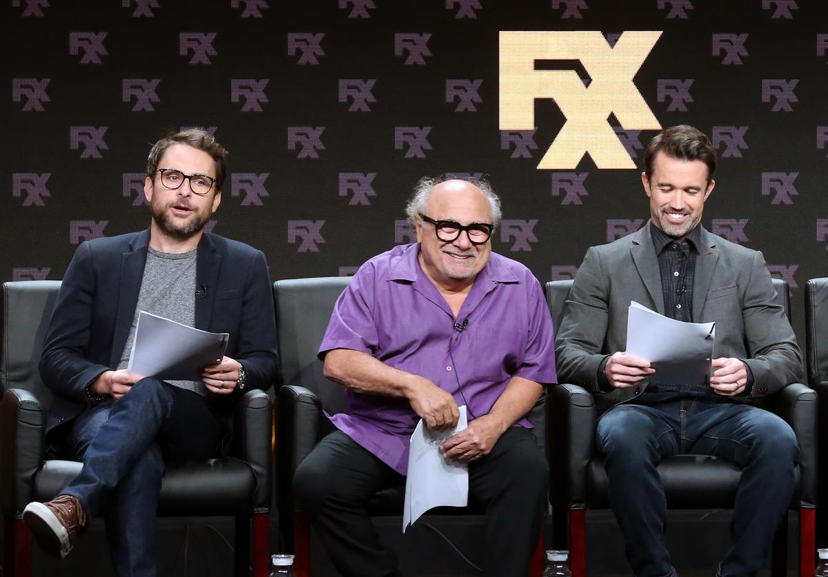 Executive producer/writer/actor Charlie Day, actor Danny DeVito, and Creator/executive producer/writer/actor Rob McElhenney speak onstage at the 'It's Always Sunny in Philadelphia' panel during the FX Network portion of the Summer 2018 TCA Press Tour at The Beverly Hilton Hotel on August 3, 2018 in Beverly Hills, California.