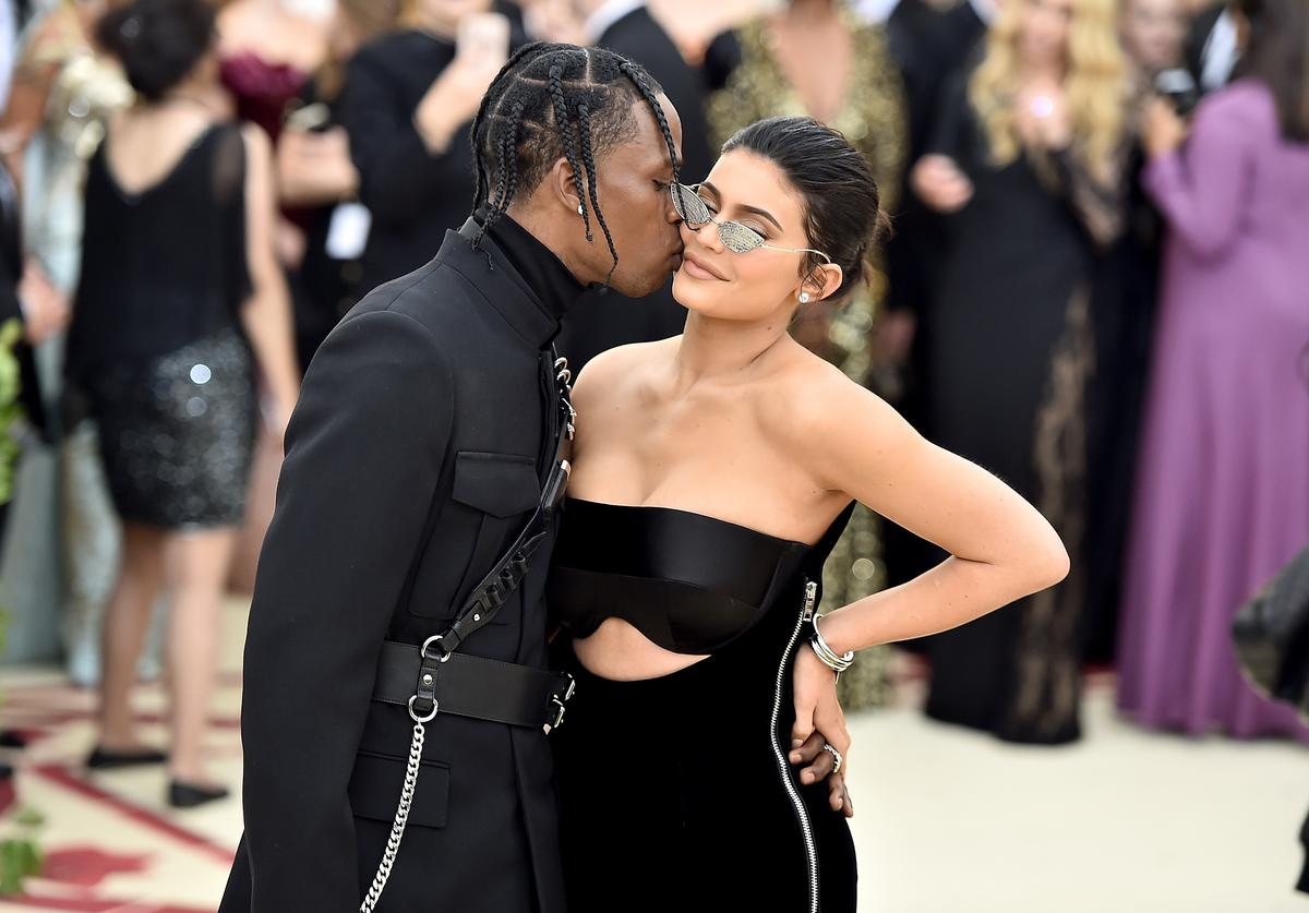 Travis Scott and Kylie Jenner attend the Heavenly Bodies: Fashion & The Catholic Imagination Costume Institute Gala at The Metropolitan Museum of Art on May 7, 2018 in New York City.