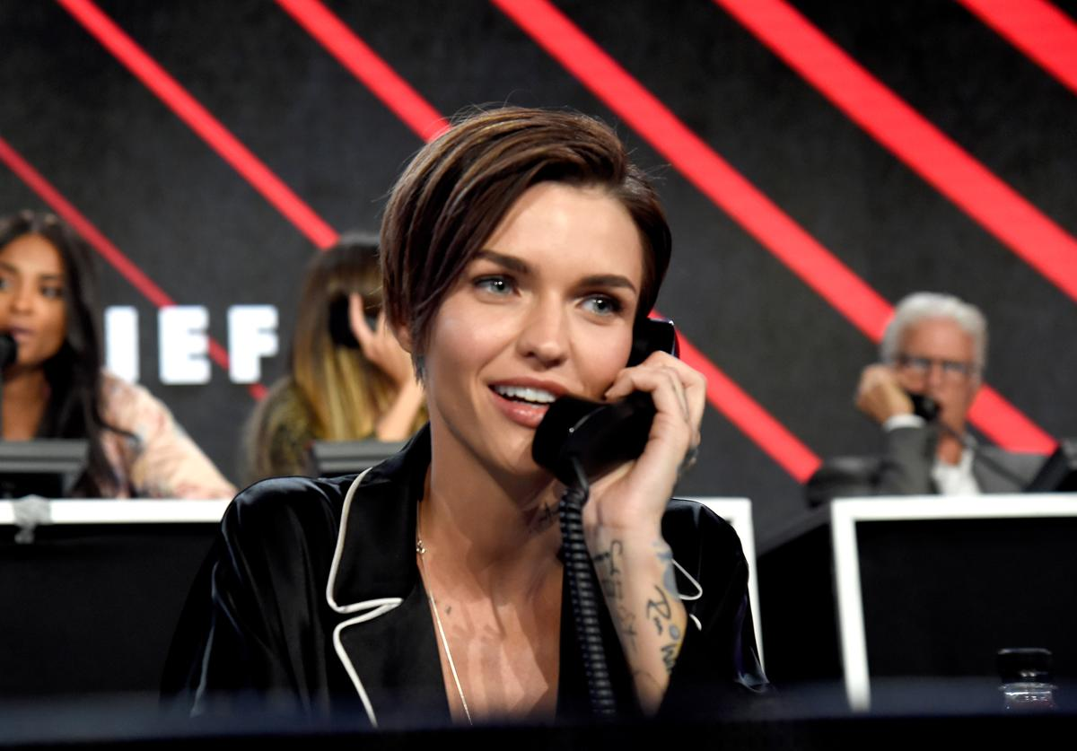 In this handout photo provided by One Voice: Somos Live!, actor Ruby Rose participates in the phone bank onstage during 'One Voice: Somos Live! A Concert For Disaster Relief' at the Universal Studios Lot on October 14, 2017 in Los Angeles, California.