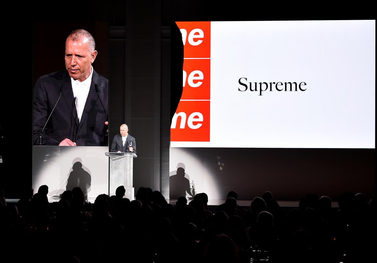 Designer James Jebbia accepts the 2018 CFDA Menswear Designer of The Year award onstage during the 2018 CFDA Fashion Awards at Brooklyn Museum on June 4, 2018 in New York City.