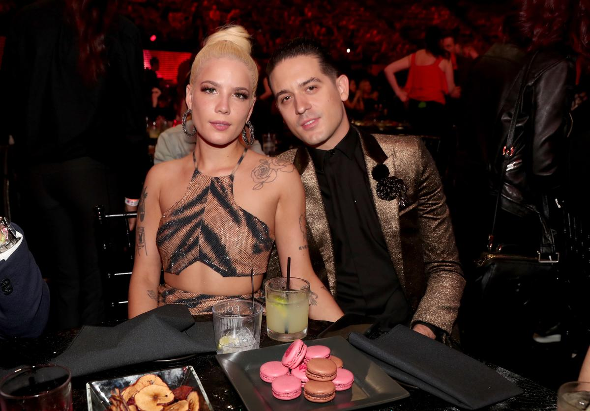 G-Eazy (L) and Halsey attend the 2018 iHeartRadio Music Awards which broadcasted live on TBS, TNT, and truTV at The Forum on March 11, 2018 in Inglewood, California