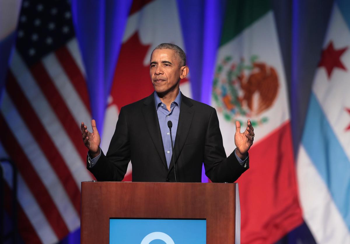 Former president Barack Obama speaks to a gathering of more than 50 mayors and other guests during the North American Climate Summit on December 5, 2017 in Chicago, Illinois.