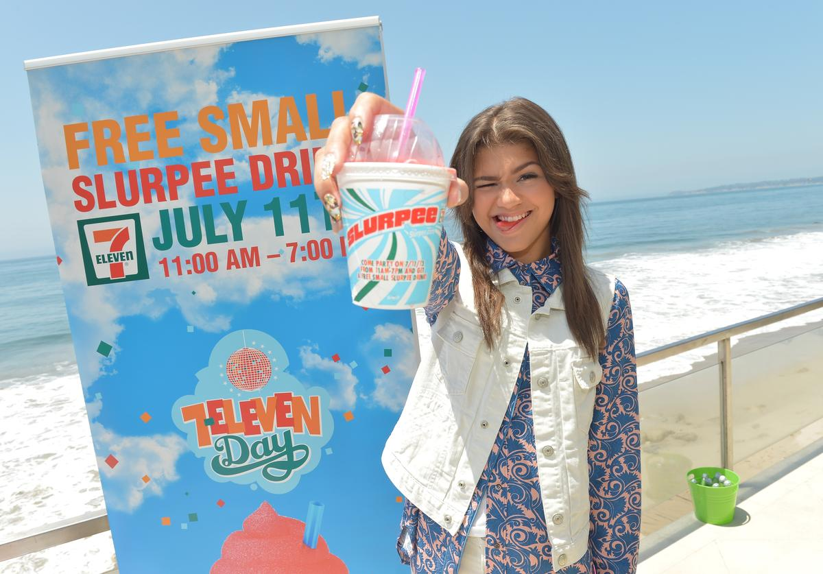 "Zendaya Coleman attends 7-Eleven's 86th birthday at a party hosted by actress Nikki Reed, star of the hit movies ""Twilight"" and ""Empire State,"" on July 9, 2013 in Malibu, California. 7-Eleven will hand out free small Slurpee drinks to guests on July 11 at participating stores nationwide."
