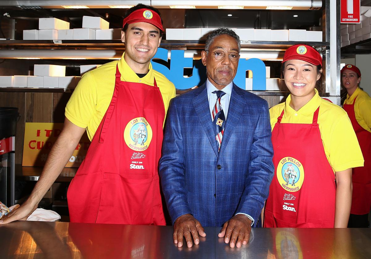 Giancarlo Esposito opens the Los Pollos Hermanos pop up restaurant on April 11, 2017 in Sydney, Australia. The fictional chicken shop featured in the TV series Breaking Bad and Better Call Saul. Giancarlo Esposito reprises his role as Gustavo 'Gus' Fring in the new season of Better Call Saul.