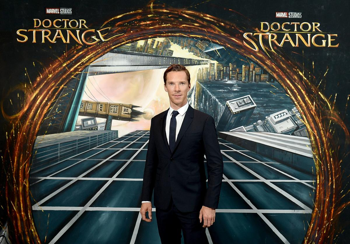 Benedict Cumberbatch in front of the Doctor Strange inspired 3D Art at a fan screening, to celebrate the release of Marvel Studio's Doctor Strange at the Odeon Leicester Square, on October 24, 2016 in London, United Kingdom.