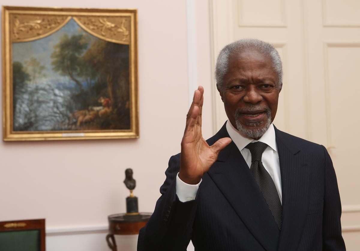 Former Secretary-General of the United Nations Kofi Annan attends a dinner in honor of Former German President Horst Koehler during the latter's 75th birthday at Bellevue Palace on March 8, 2018 in Berlin, Germany. Koehler was president of Germany from 2004 to 2010.