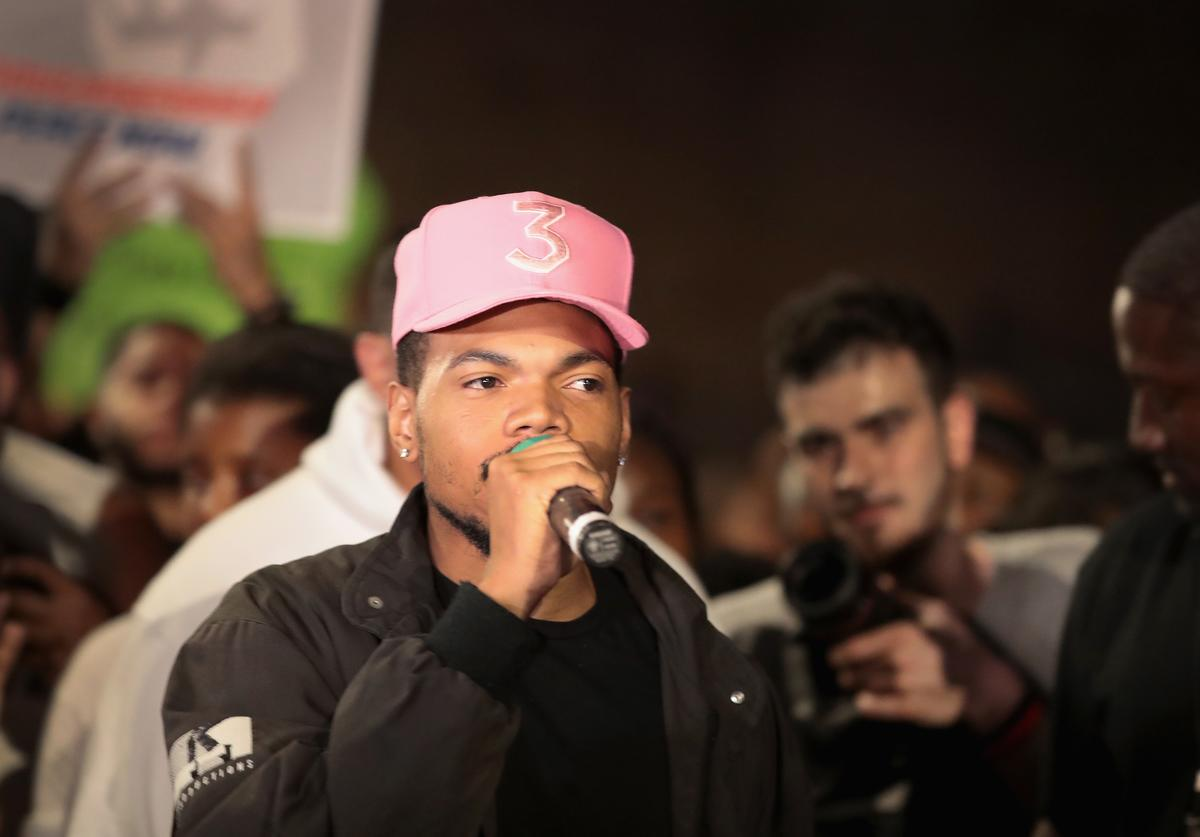 Chance the Rapper participates in an end of school year peace march and rally on June 15, 2018 in Chicago, Illinois. Chicago native Jennifer Hudson, Students from Marjory Stoneman Douglas High School and former Rep. Gabrielle Giffords were guests at the rally.