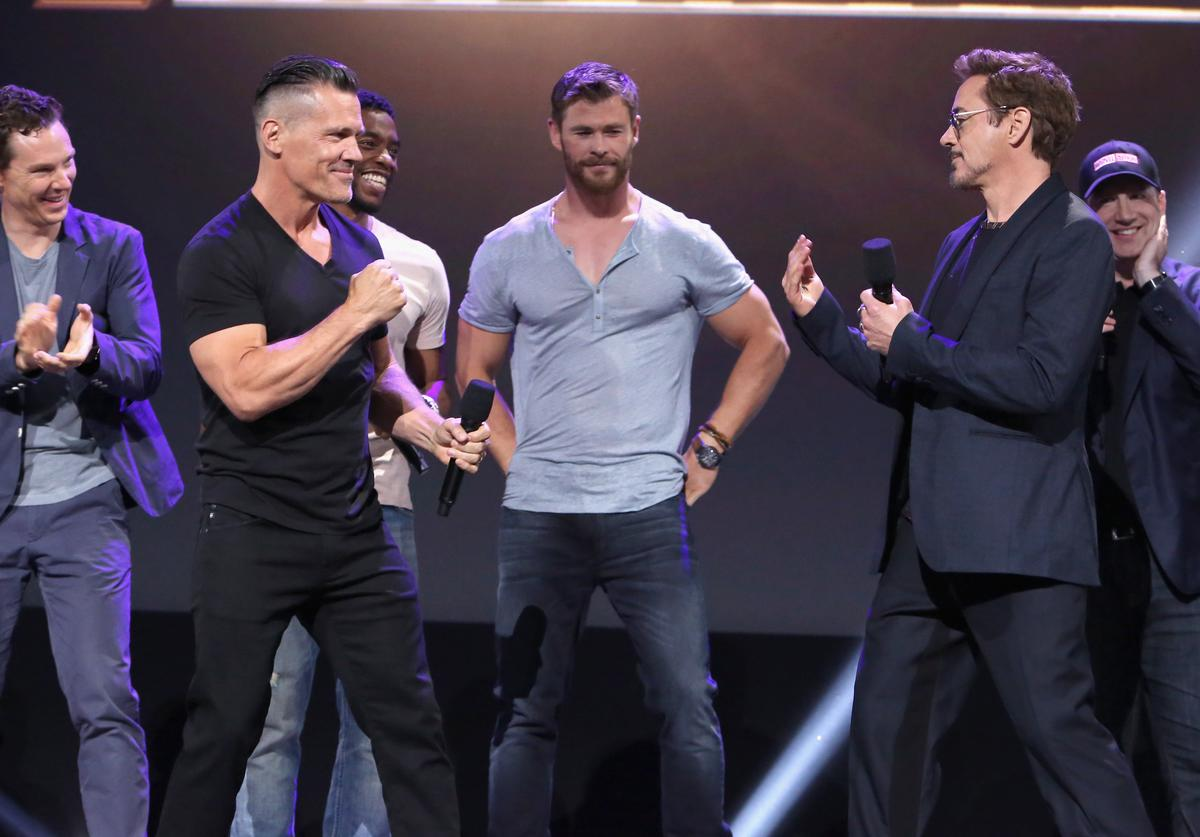 Actors Benedict Cumberbatch, Josh Brolin, Chadwick Boseman, Chris Hemsworth, and Robert Downey Jr. and producer Kevin Feige of AVENGERS: INFINITY WAR took part today in the Walt Disney Studios live action presentation at Disney's D23 EXPO 2017 in Anaheim, Calif. AVENGERS: INFINITY WAR will be released in U.S. theaters on May 4, 2018.
