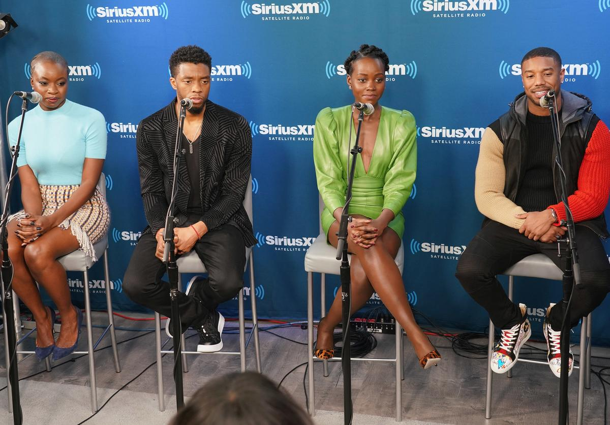 Danai Gurira, Chadwick Boseman, Lupita Nyong'o and Michael B. Jordan take part in SiriusXM's Town Hall with the cast of Black Panther hosted by SiriusXM's Sway Calloway on February 13, 2018 in New York City.