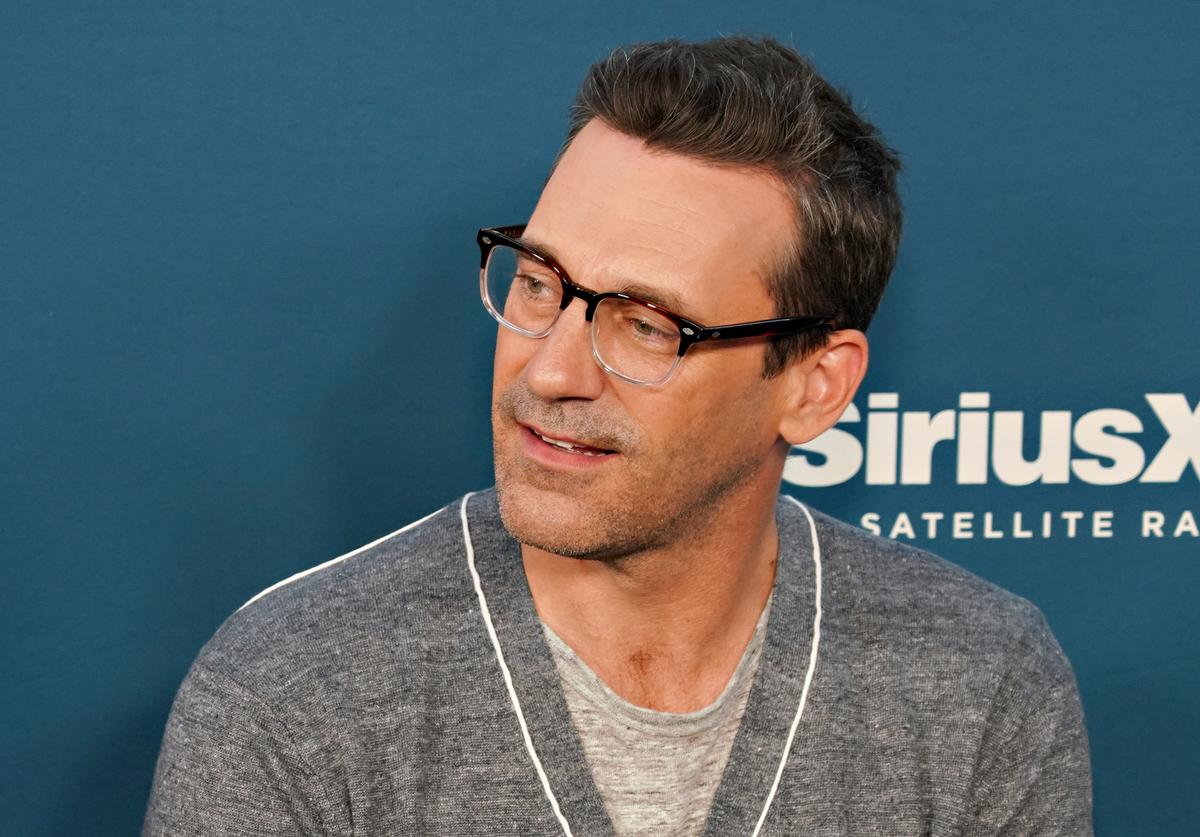 : Jon Hamm takes part in SiriusXM's Town Hall with the cast of 'Tag' hosted by SiriusXM's Michelle Collins on June 12, 2018 in New York City.