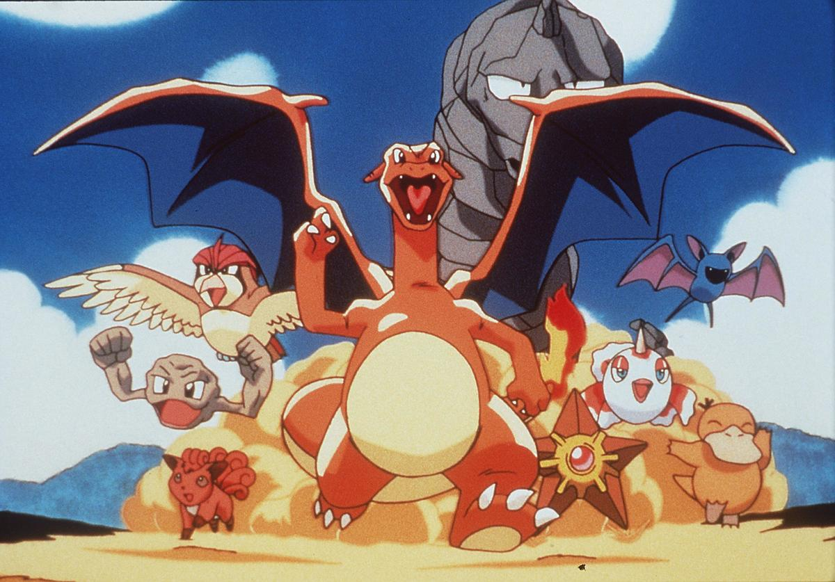 Vulpix, Geodude, Pidgeot, Charizard, Onix, Staryu, Coldeen, Zubat, And Psyduck In The Animated Movie 'Pokemon:The First Movie.'