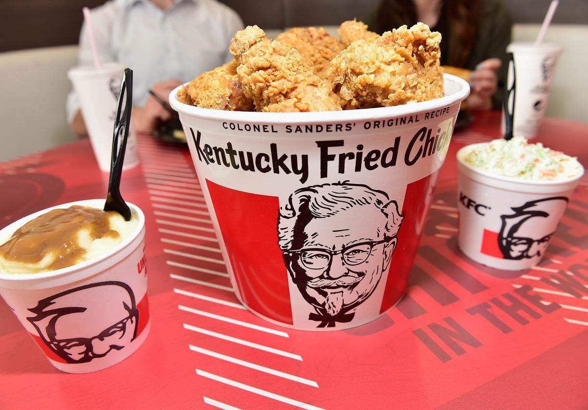 a bucket of KFC chicken
