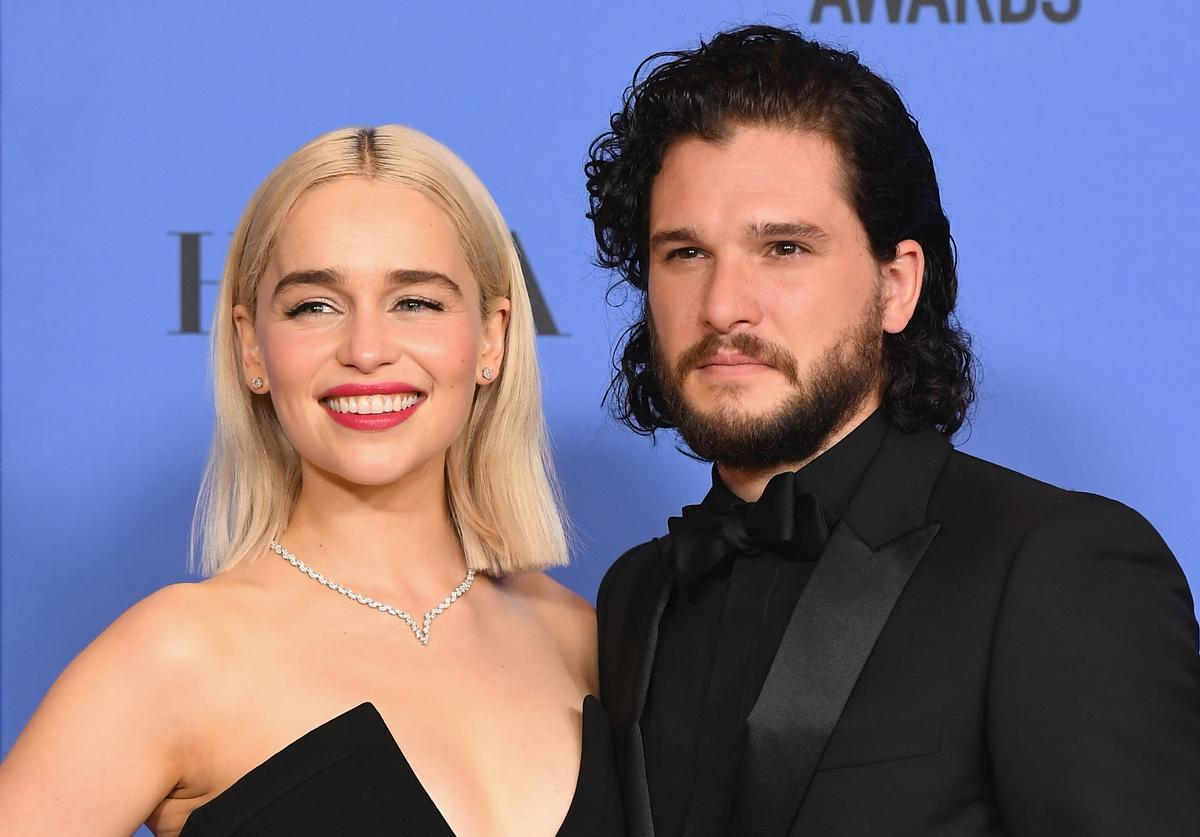Actors Emilia Clarke and Kit Harington pose in the press room during The 75th Annual Golden Globe Awards at The Beverly Hilton Hotel on January 7, 2018 in Beverly Hills, California.