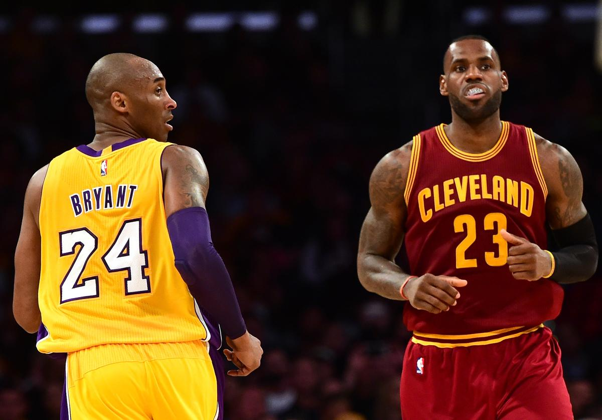 LeBron James #23 of the Cleveland Cavaliers and Kobe Bryant #24 of the Los Angeles Lakers match up during the first half at Staples Center on March 10, 2016 in Los Angeles, California.
