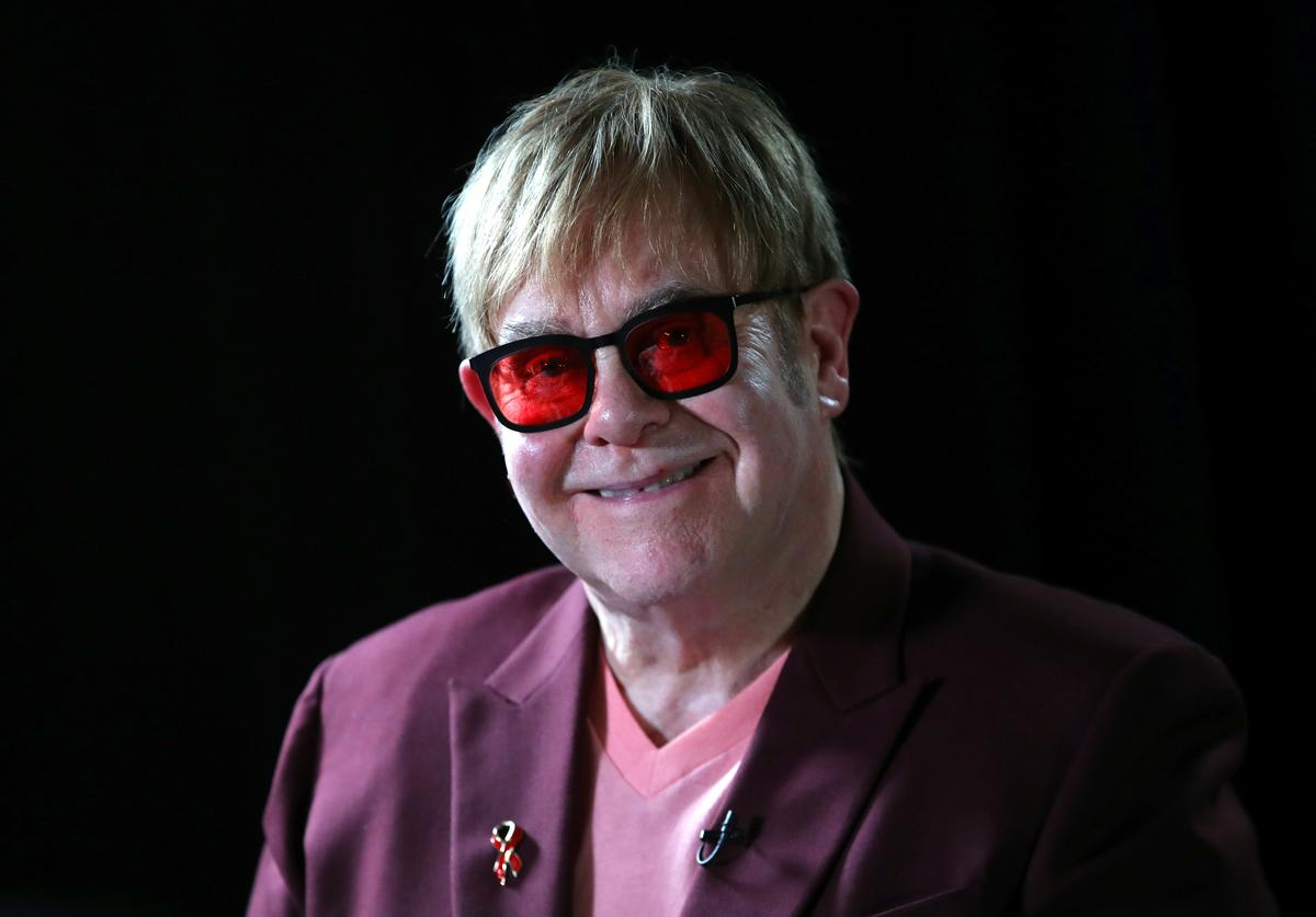Sir Elton John smiles during a lecture on 'The Diana, Princess of Wales Lecture on HIV' at French Institute South Kensington on June 8, 2018 in London, England.