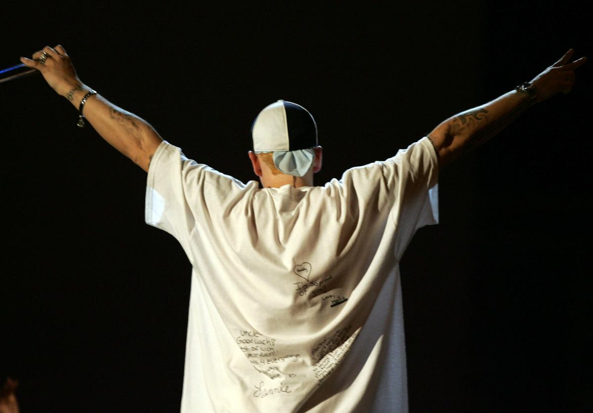 Eminem performs onstage during the 2005 MTV Movie Awards at the Shrine Auditorium on June 4, 2005 in Los Angeles, California