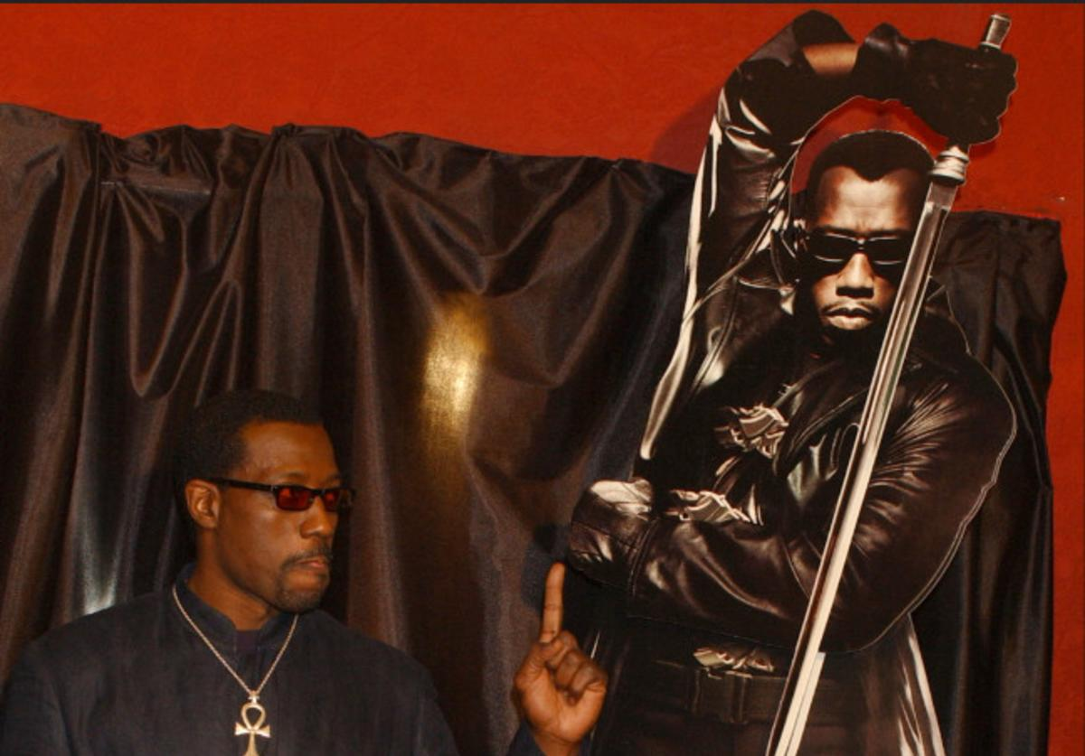 Actor Wesley Snipes attends the premiere of the movie Blade II April 18, 2002 in Madrid, Spain.