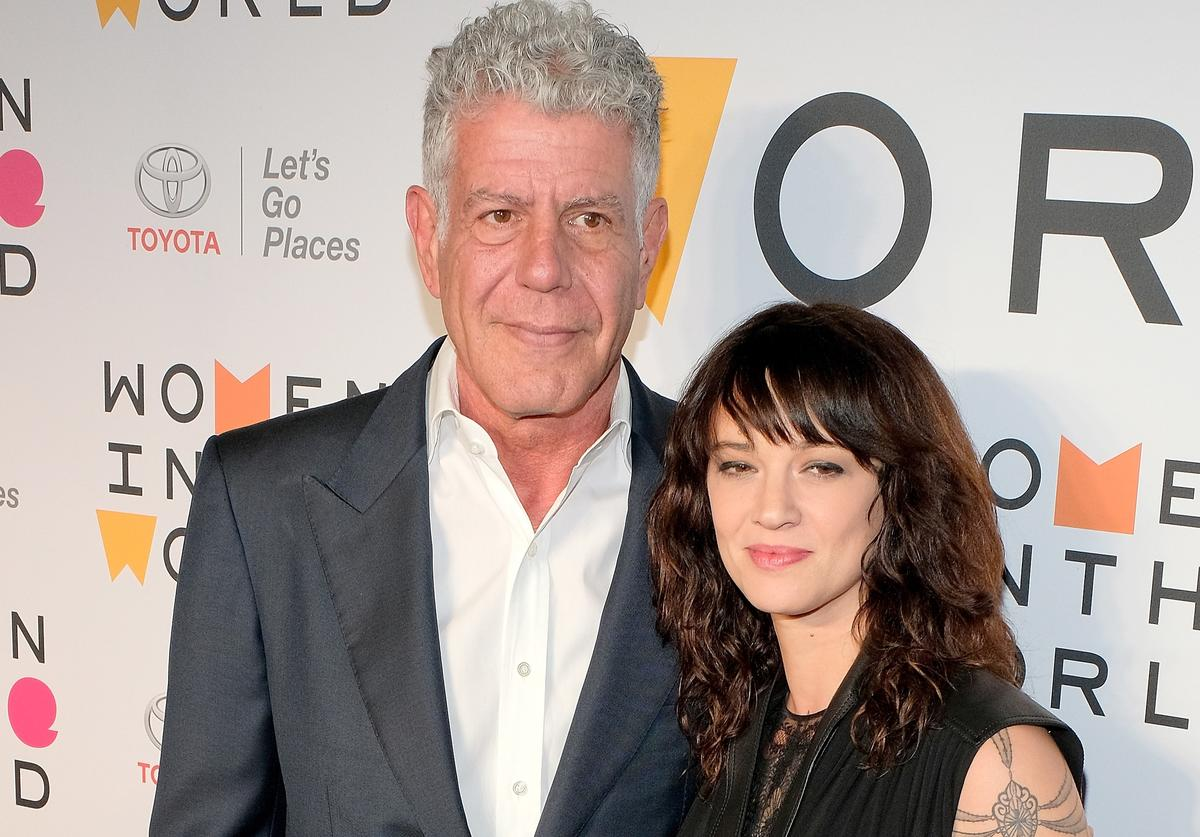 Chef Anthony Bourdain and actor Asia Argento attend the 2018 Women In The World Summit at Lincoln Center on April 12, 2018 in New York City.