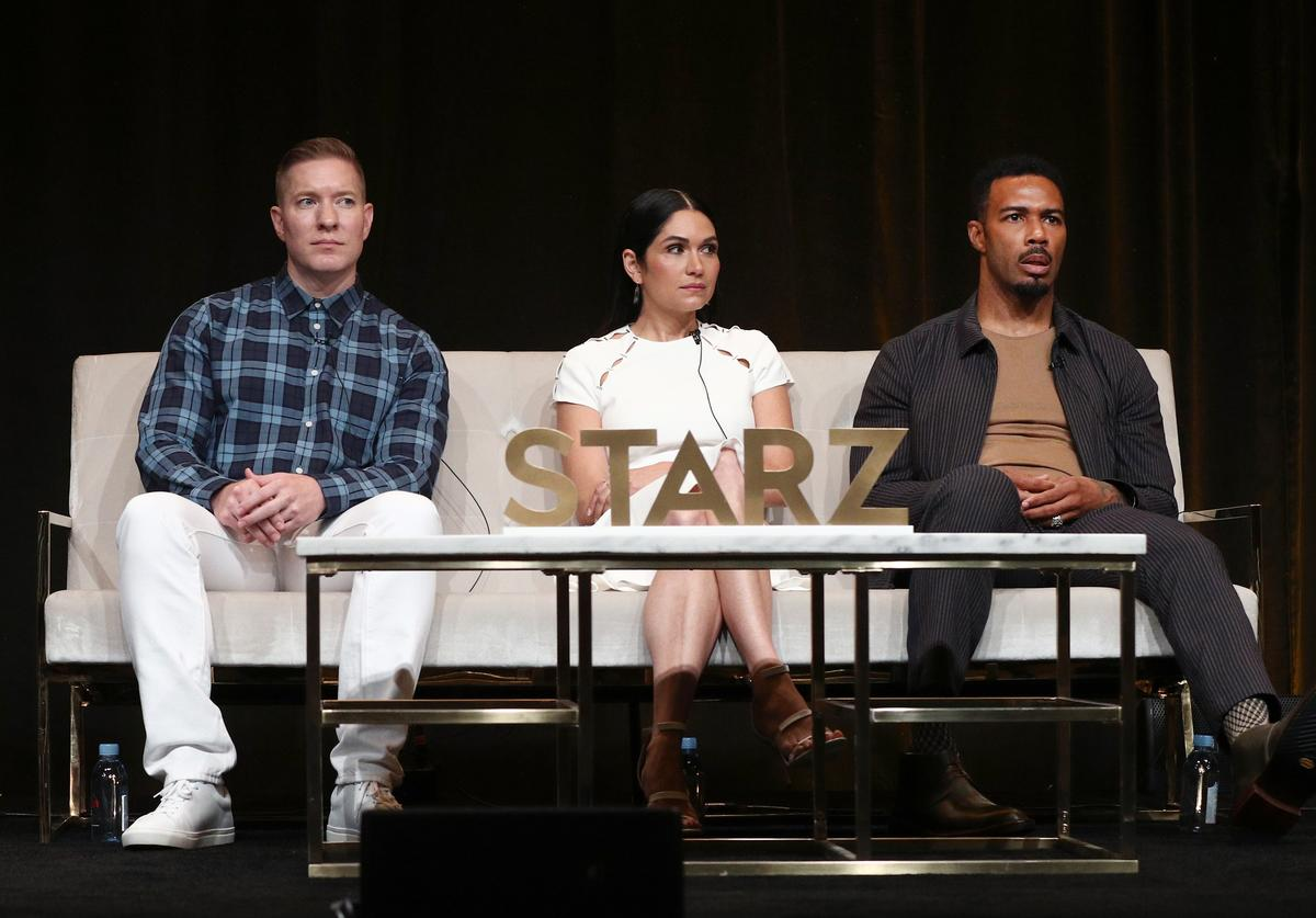 Actors Joseph Sikora, Lela Loren, and Omari Hardwick of 'Power' speak onstage during the STARZ portion of the Summer 2018 TCA Press Tour at The Beverly Hilton Hotel on July 28, 2018 in Beverly Hills, California.