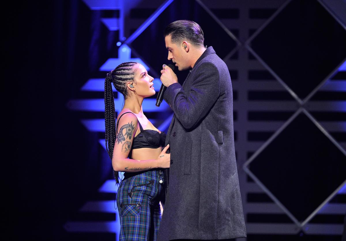 Halsey (L) and G-Eazy perform onstage at WiLD 94.9's FM's Jingle Ball 2017 Presented by Capital One at SAP Center on November 30, 2017 in San Jose, California