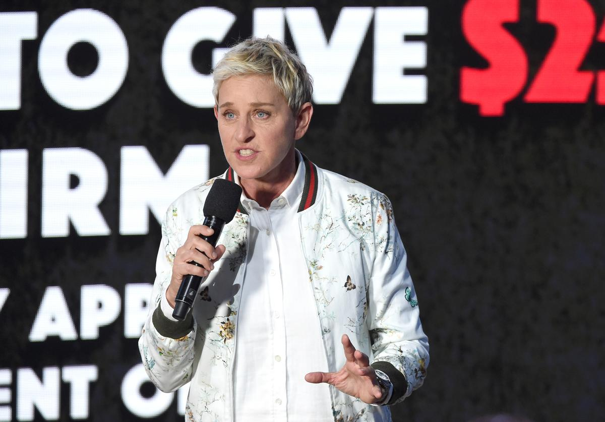 In this handout photo provided by One Voice: Somos Live!, Ellen DeGeneres speaks onstage during 'One Voice: Somos Live! A Concert For Disaster Relief' at the Universal Studios Lot on October 14, 2017 in Los Angeles, California.