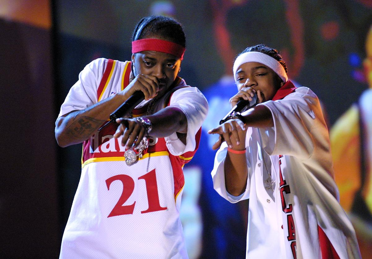 Jermaine Dupri and Lil' Bow Wow perform at the 2002 NBA All Star 'Read To Achieve' celebration at the Pennsylvania Convention Center in Philadelphia, Pa.