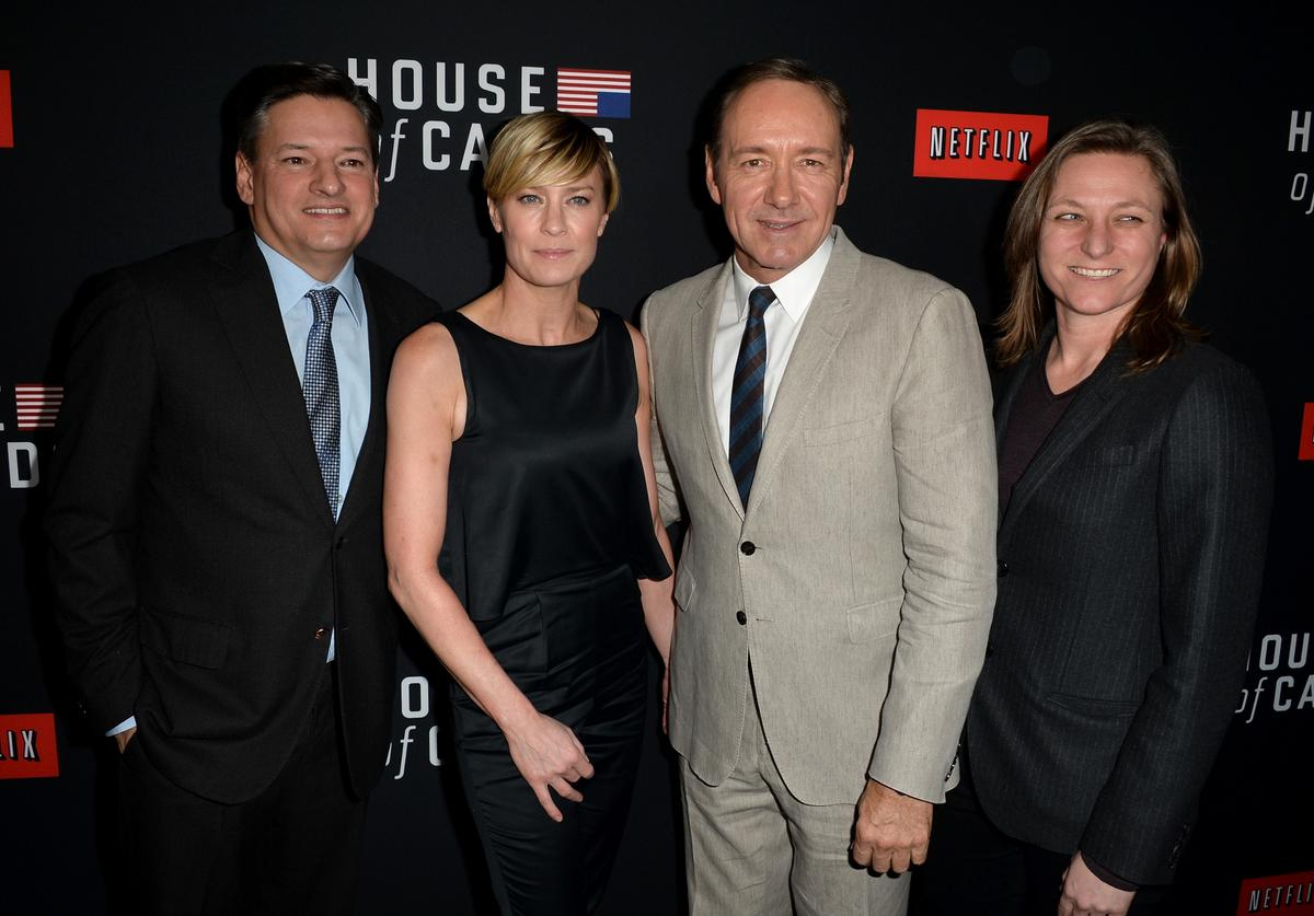 (L-R) Netflix chief content officer Ted Sarandos, actress Robin Wright, executive producer/actor Kevin Spacey and Netflix Vice president for original series Cindy Holland arrive at the special screening of Netflix's 'House of Cards' Season 2 at the Directors Guild Of America on February 13, 2014 in Los Angeles, California.