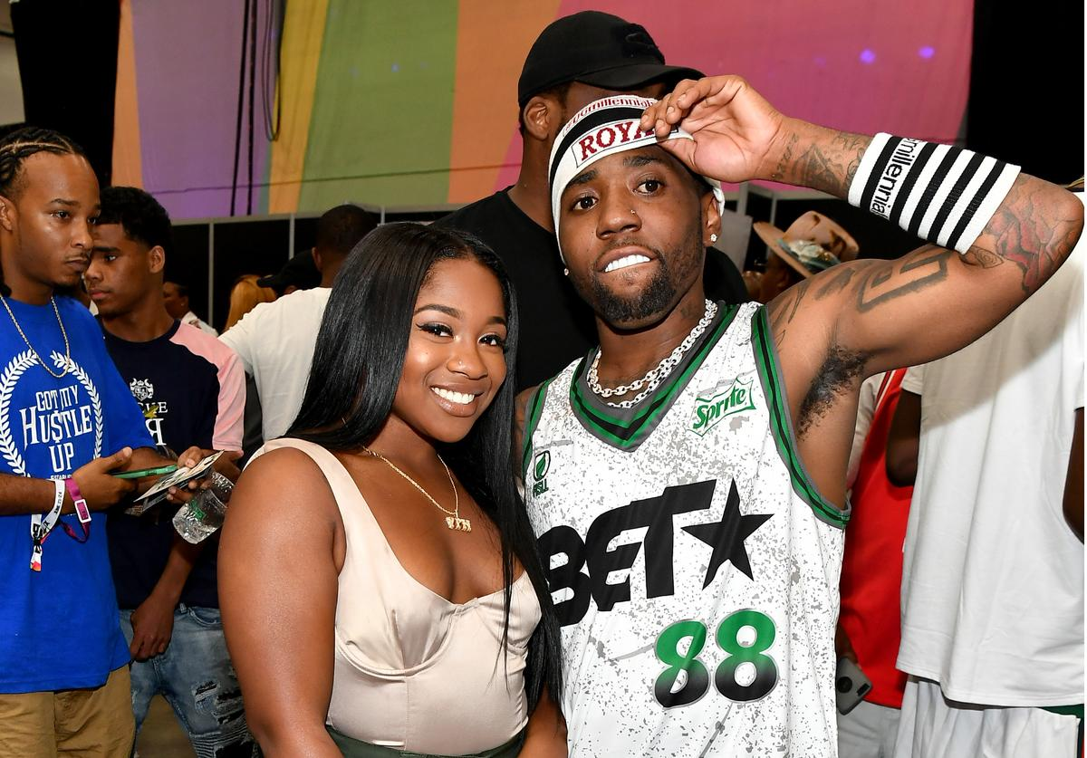 Reginae Carter (L) and YFN Lucci pose at the Celebrity Basketball Game Sponsored By Sprite during the 2018 BET Experience at Los Angeles Convention Center on June 23, 2018 in Los Angeles, California