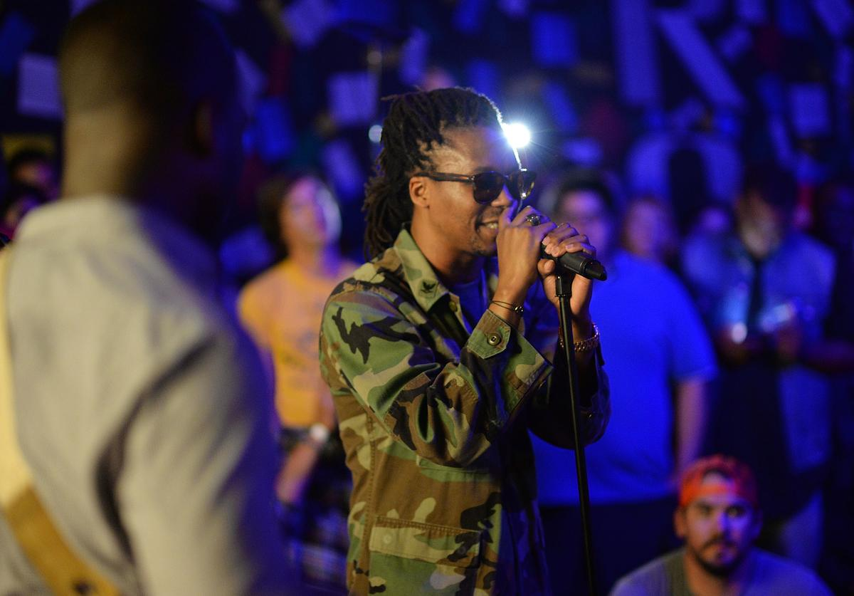 Music recording artist Lupe Fiasco performs at 'Born In Blue: Remixed And Reissued' exhibition opening, exploring 75 years of Blue Note Records at Sonos Studio on September 10, 2014 in Los Angeles, California.