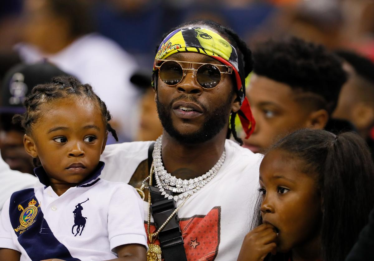 2Chainz looks on during week eight of the BIG3 three on three basketball league at Infinite Energy Arena on August 10, 2018 in Duluth, Georgia