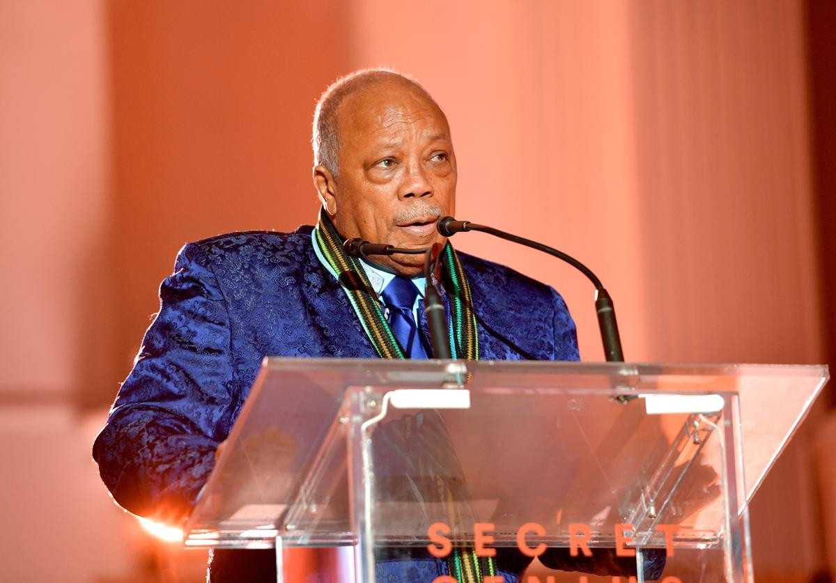 Quincy Jones speaks onstage at Spotify's Inaugural Secret Genius Awards hosted by Lizzo at Vibiana on November 1, 2017 in Los Angeles, California.